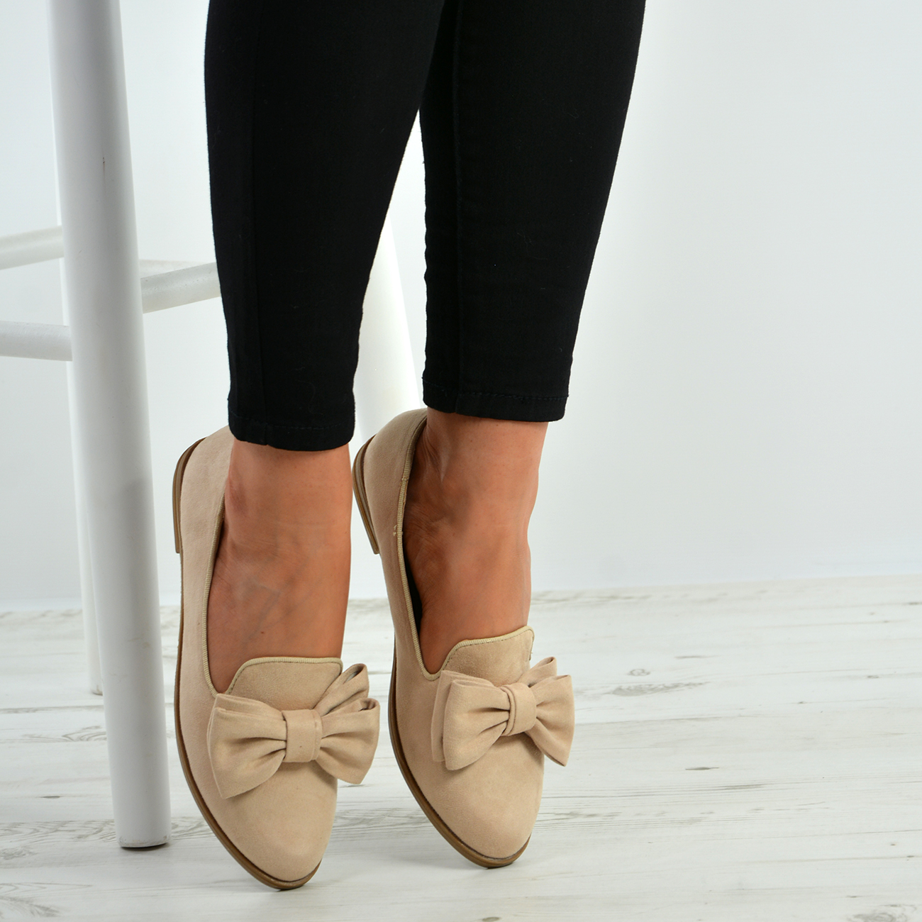 New-Womens-Ladies-Bow-Slip-On-Ballerina-Dolly-Pumps-Ballet-Shoes-Sizes-Uk