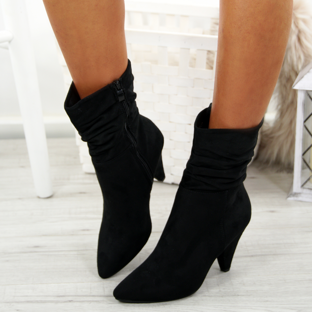 LADIES-WOMENS-ANKLE-BOOTS-MID-CONE-HEELS-POINTY-RUCHED-BAGGY-ZIP-CALF-SHOES