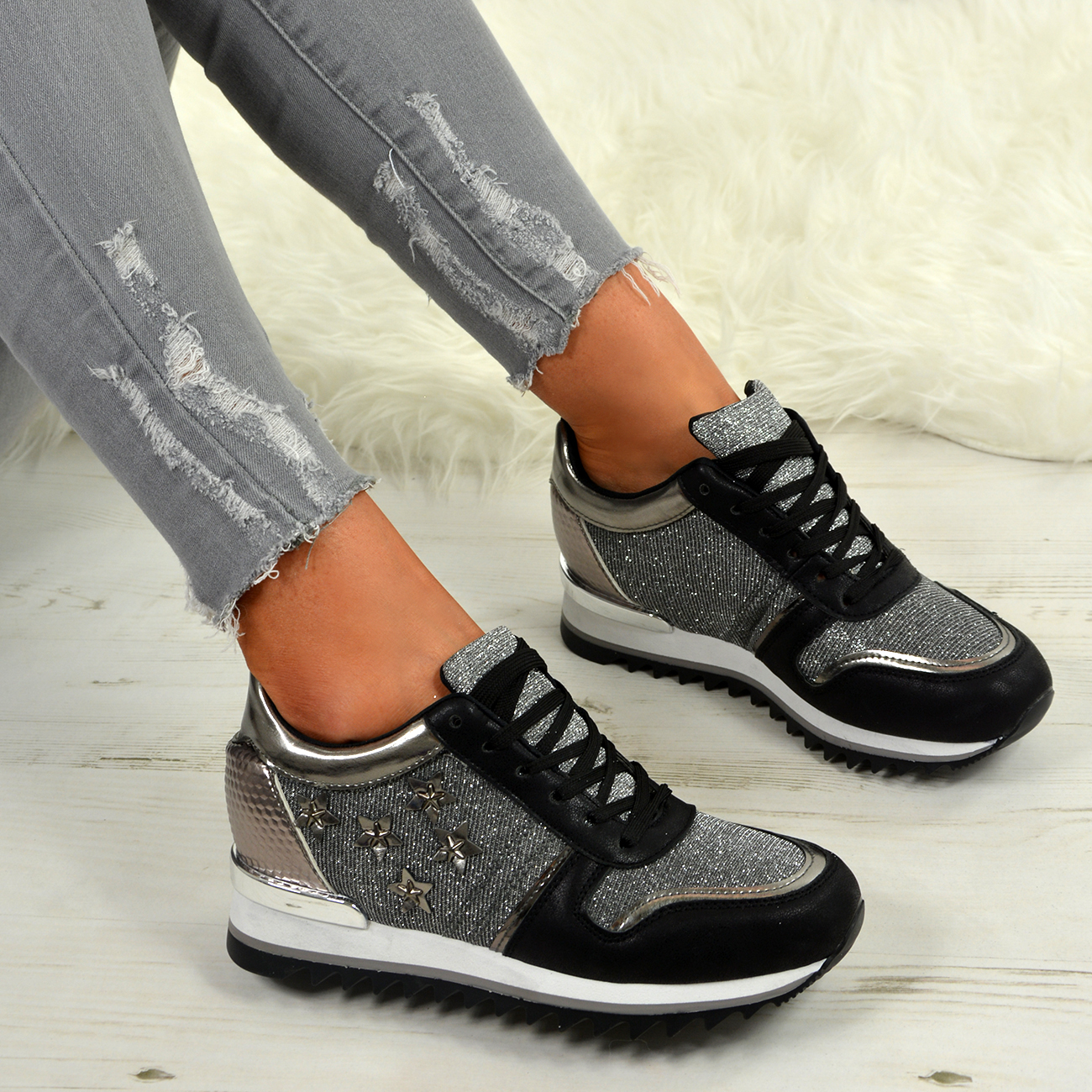 dcb2999afac2 LADIES WOMENS STAR GLITTER SPARKLE WEDGE TRAINERS SNEAKER RUNNING ...