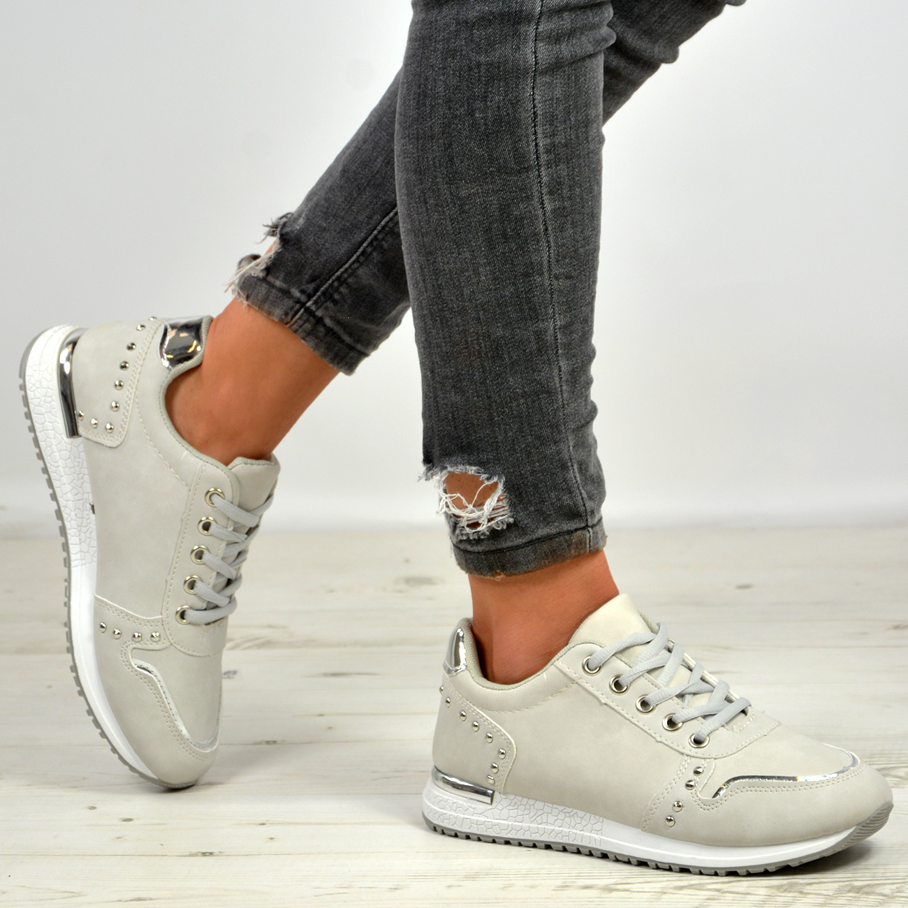 New Womens Studded Lace Up Running Trainers Sneakers Shoes Size Uk 3-8
