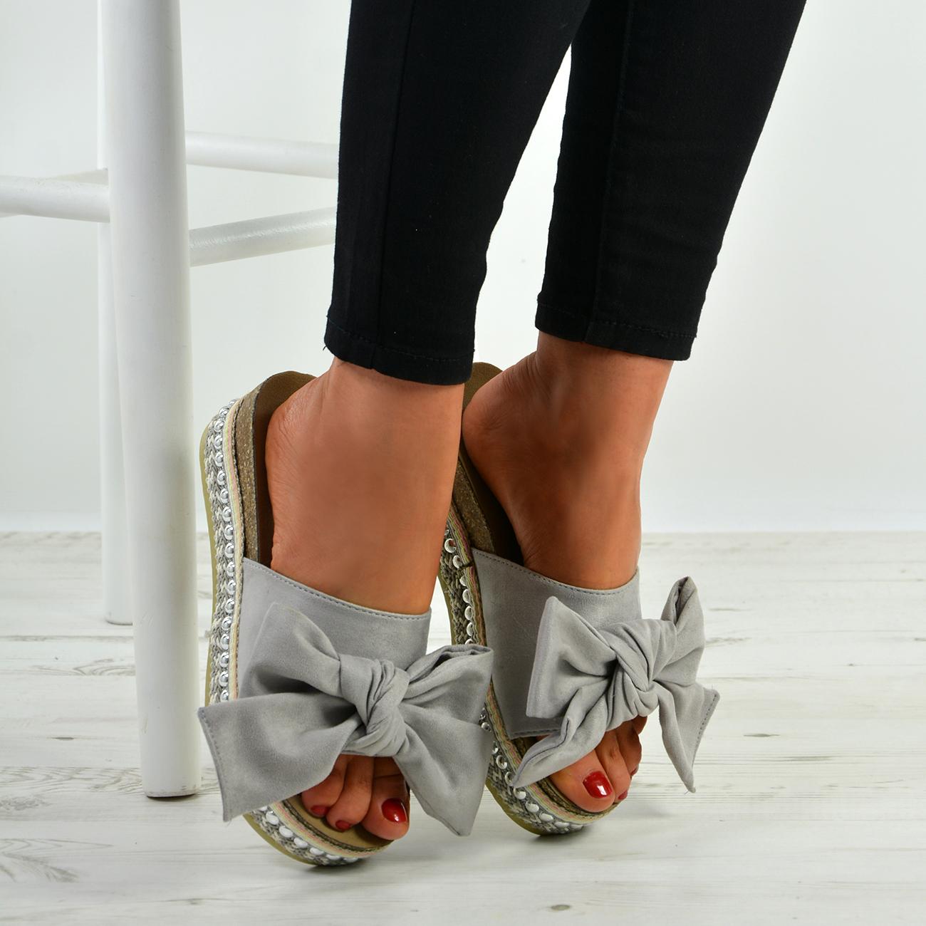 New-Womens-Bow-Flatform-Sandals-Peep-Toe-Ladies-Pearl-Stud-Wedges-Shoes-Platform