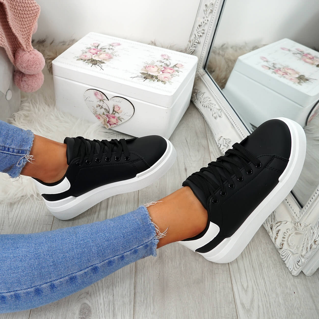 WOMENS-LADIES-LACE-UP-PLIMSOLL-SNEAKERS-CROC-SNAKE-TRAINERS-CASUAL-SHOES-SIZE thumbnail 14