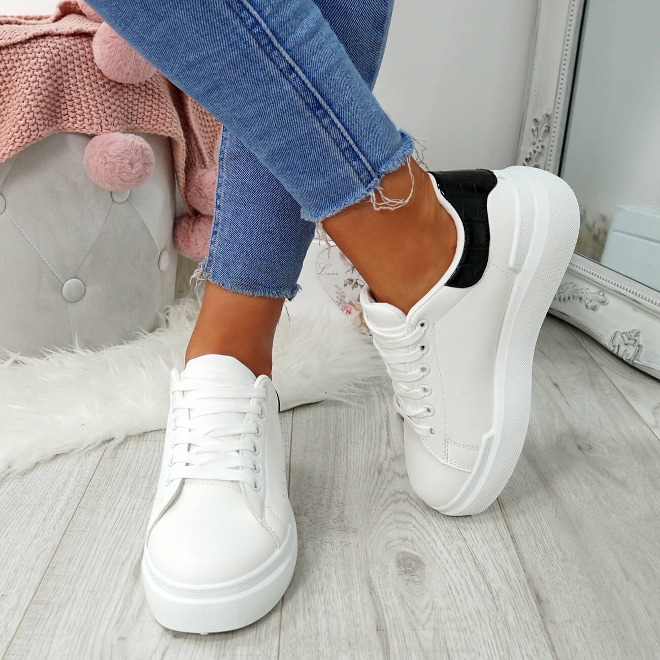 WOMENS-LADIES-LACE-UP-PLIMSOLL-SNEAKERS-CROC-SNAKE-TRAINERS-CASUAL-SHOES-SIZE thumbnail 23