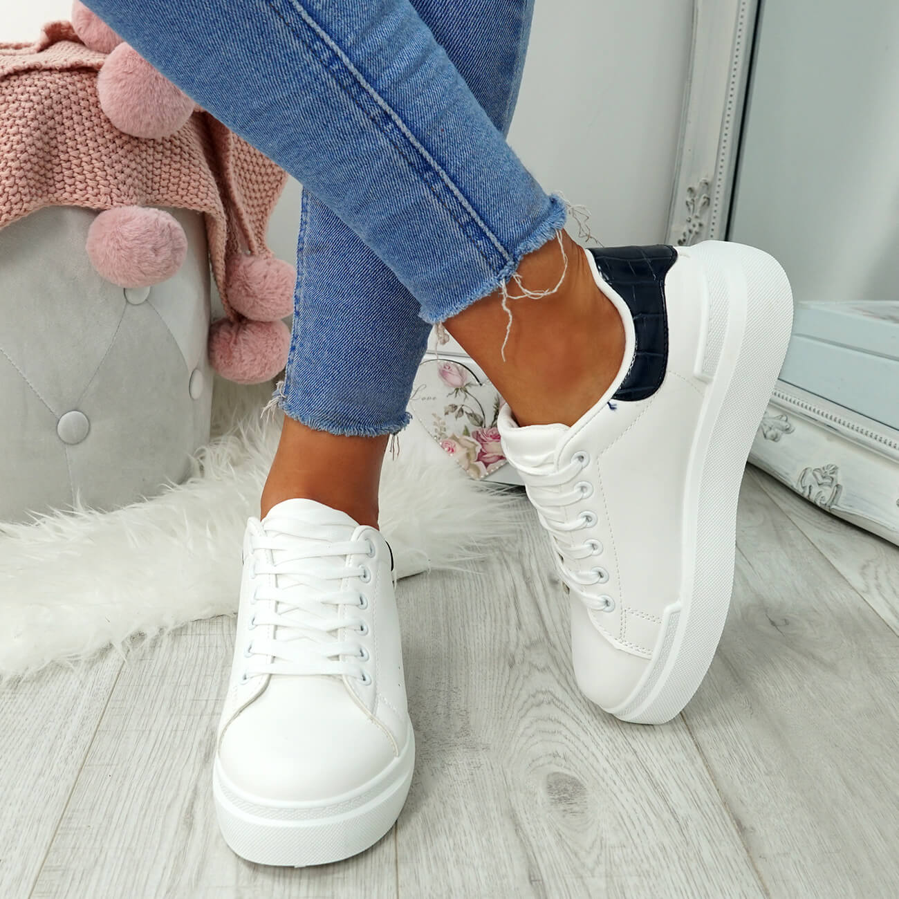 WOMENS-LADIES-LACE-UP-PLIMSOLL-SNEAKERS-CROC-SNAKE-TRAINERS-CASUAL-SHOES-SIZE thumbnail 37