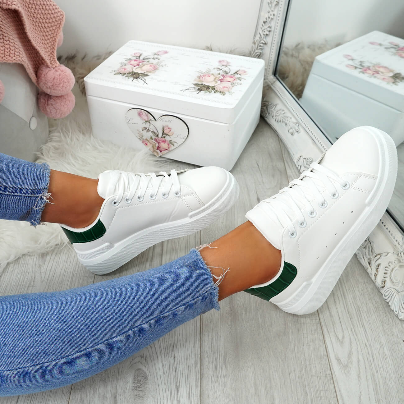 WOMENS-LADIES-LACE-UP-PLIMSOLL-SNEAKERS-CROC-SNAKE-TRAINERS-CASUAL-SHOES-SIZE thumbnail 49