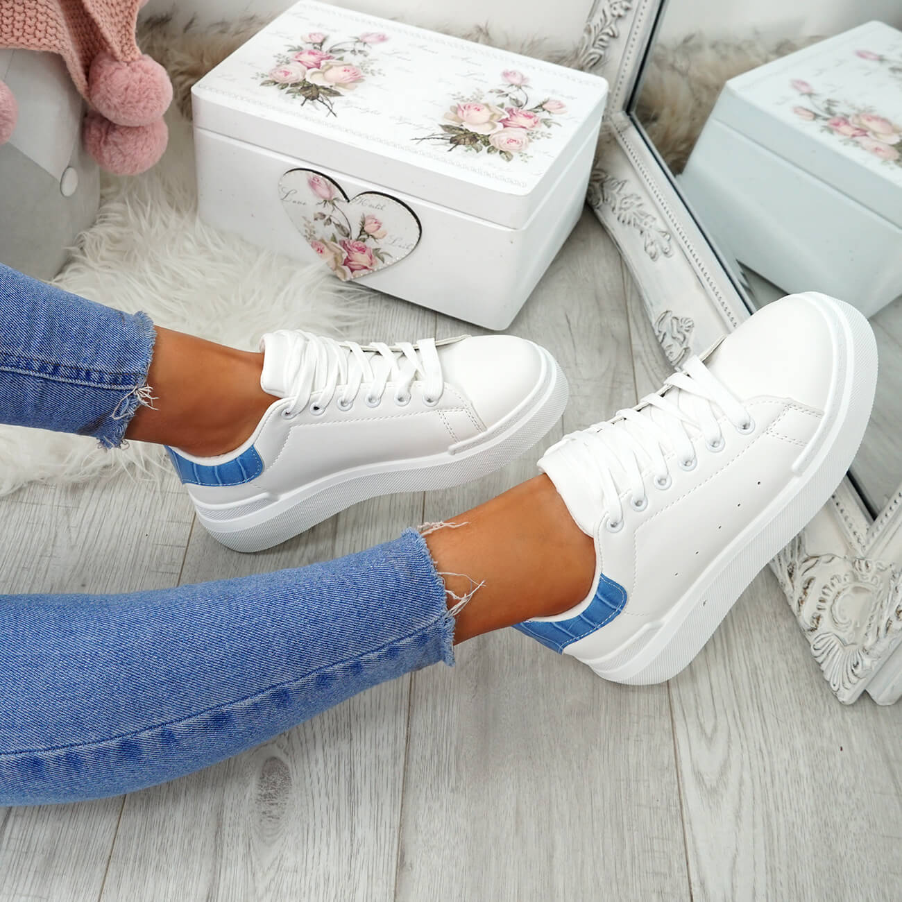 WOMENS-LADIES-LACE-UP-PLIMSOLL-SNEAKERS-CROC-SNAKE-TRAINERS-CASUAL-SHOES-SIZE thumbnail 53