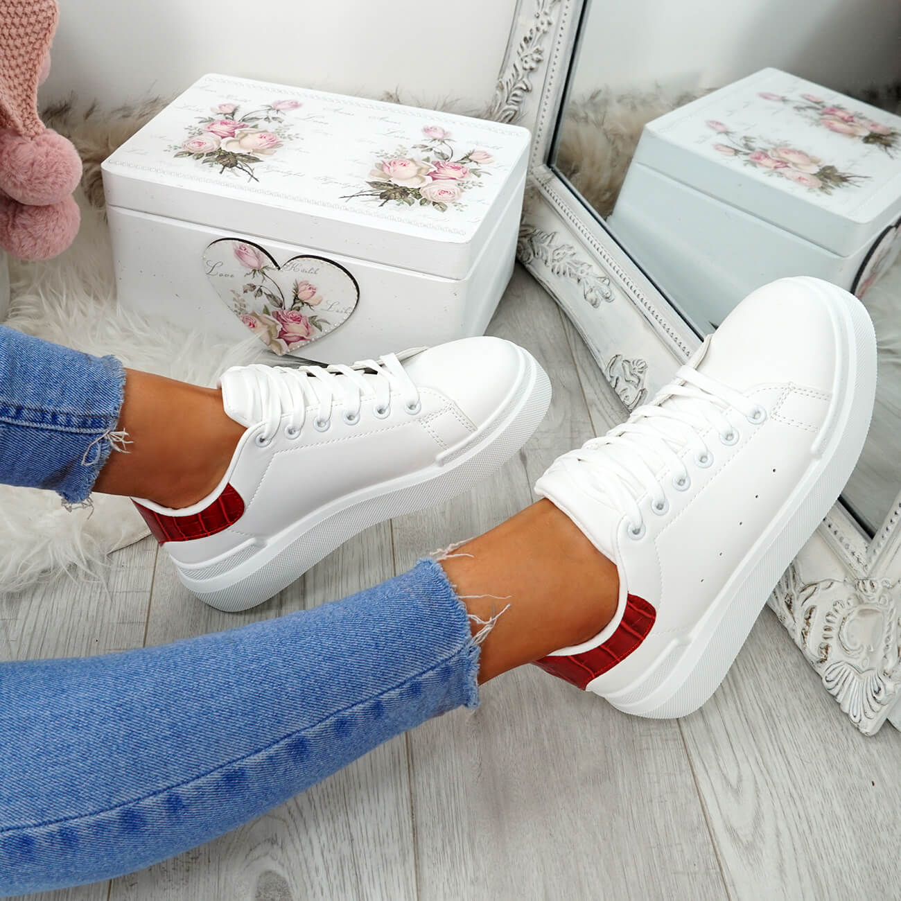 WOMENS-LADIES-LACE-UP-PLIMSOLL-SNEAKERS-CROC-SNAKE-TRAINERS-CASUAL-SHOES-SIZE thumbnail 64
