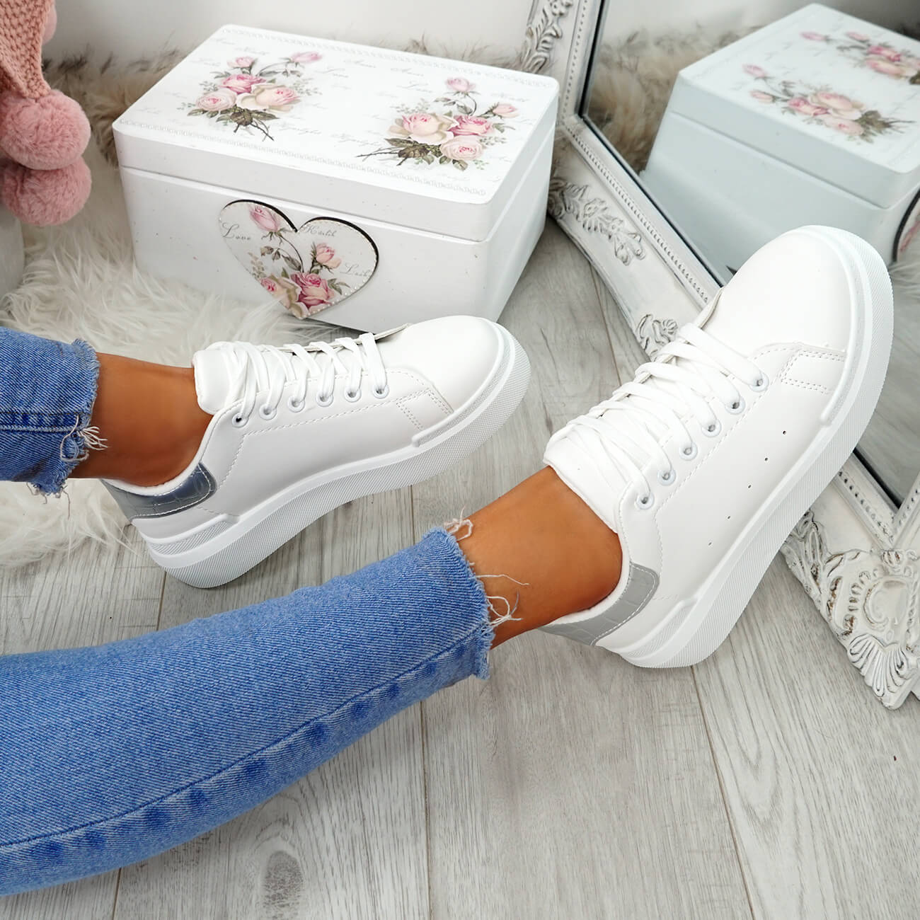 WOMENS-LADIES-LACE-UP-PLIMSOLL-SNEAKERS-CROC-SNAKE-TRAINERS-CASUAL-SHOES-SIZE thumbnail 69