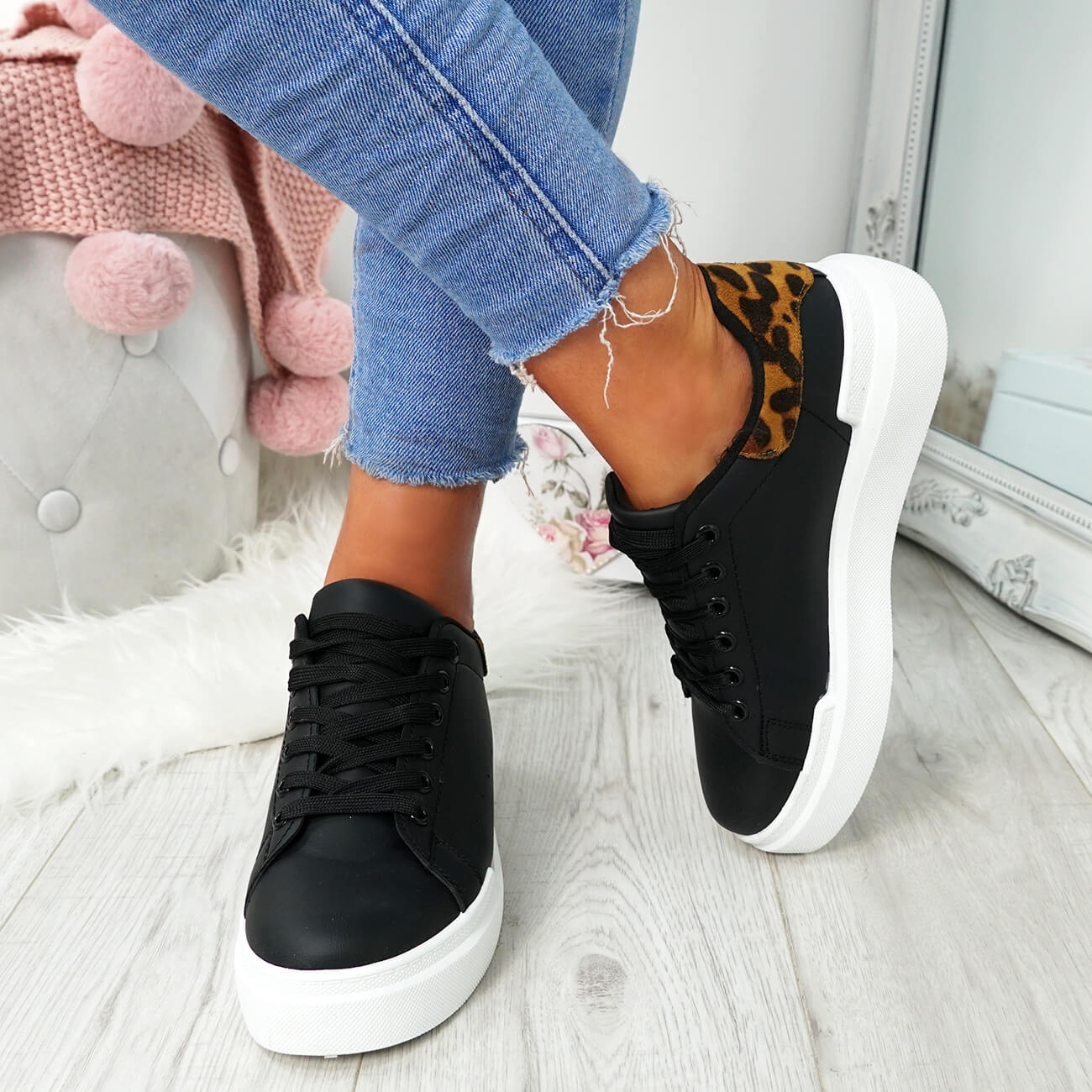 WOMENS-LADIES-LACE-UP-PLIMSOLL-SNEAKERS-CROC-SNAKE-TRAINERS-CASUAL-SHOES-SIZE thumbnail 10