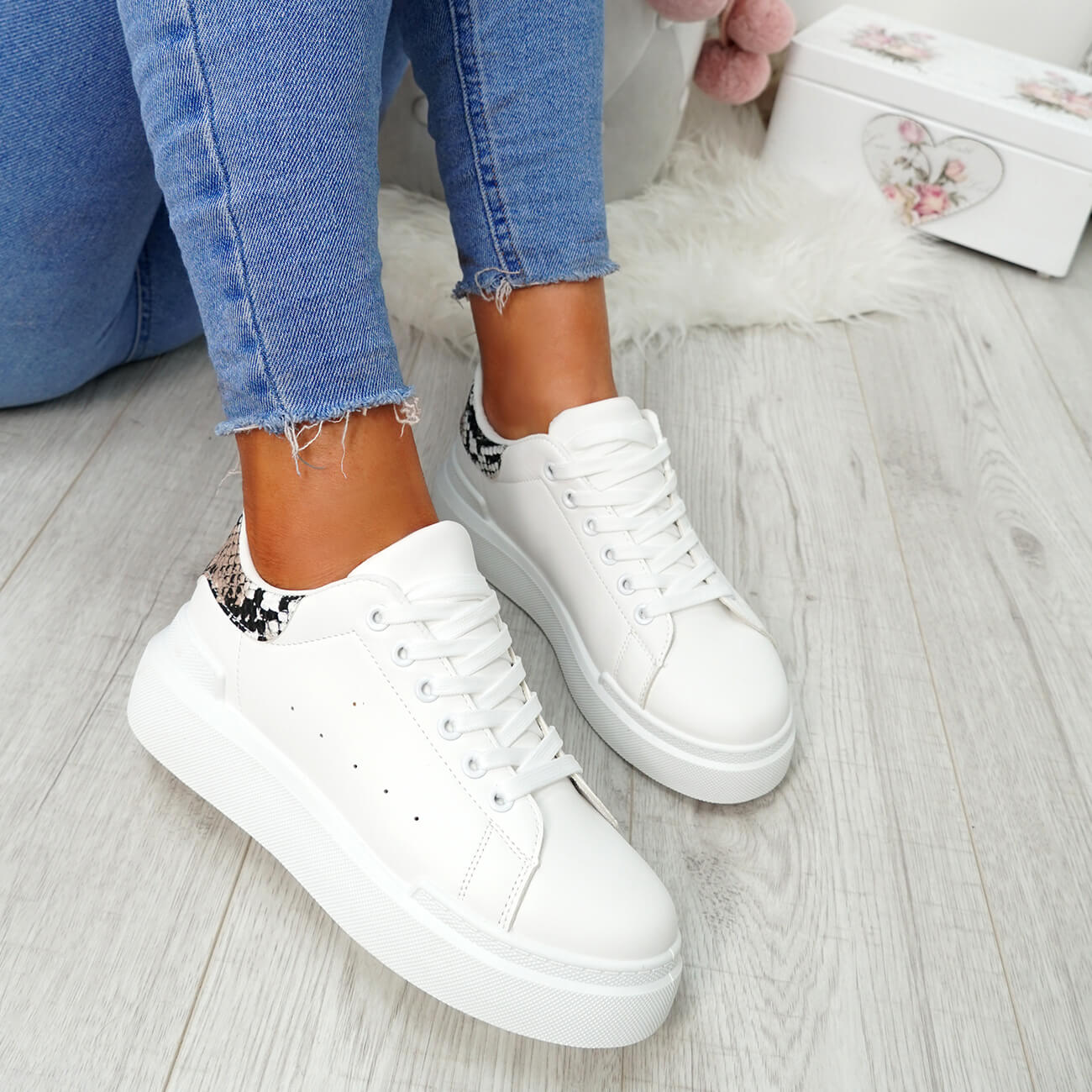 WOMENS-LADIES-LACE-UP-PLIMSOLL-SNEAKERS-CROC-SNAKE-TRAINERS-CASUAL-SHOES-SIZE thumbnail 19