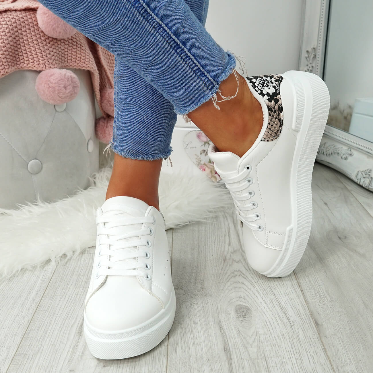 WOMENS-LADIES-LACE-UP-PLIMSOLL-SNEAKERS-CROC-SNAKE-TRAINERS-CASUAL-SHOES-SIZE thumbnail 20