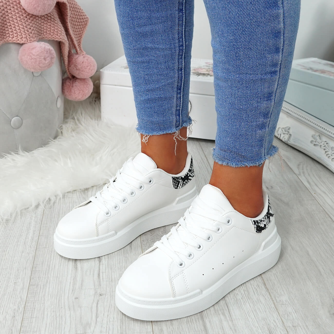 WOMENS-LADIES-LACE-UP-PLIMSOLL-SNEAKERS-CROC-SNAKE-TRAINERS-CASUAL-SHOES-SIZE thumbnail 30