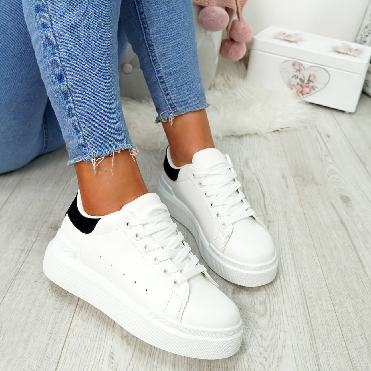 WOMENS-LADIES-LACE-UP-PLIMSOLL-SNEAKERS-CROC-SNAKE-TRAINERS-CASUAL-SHOES-SIZE thumbnail 34