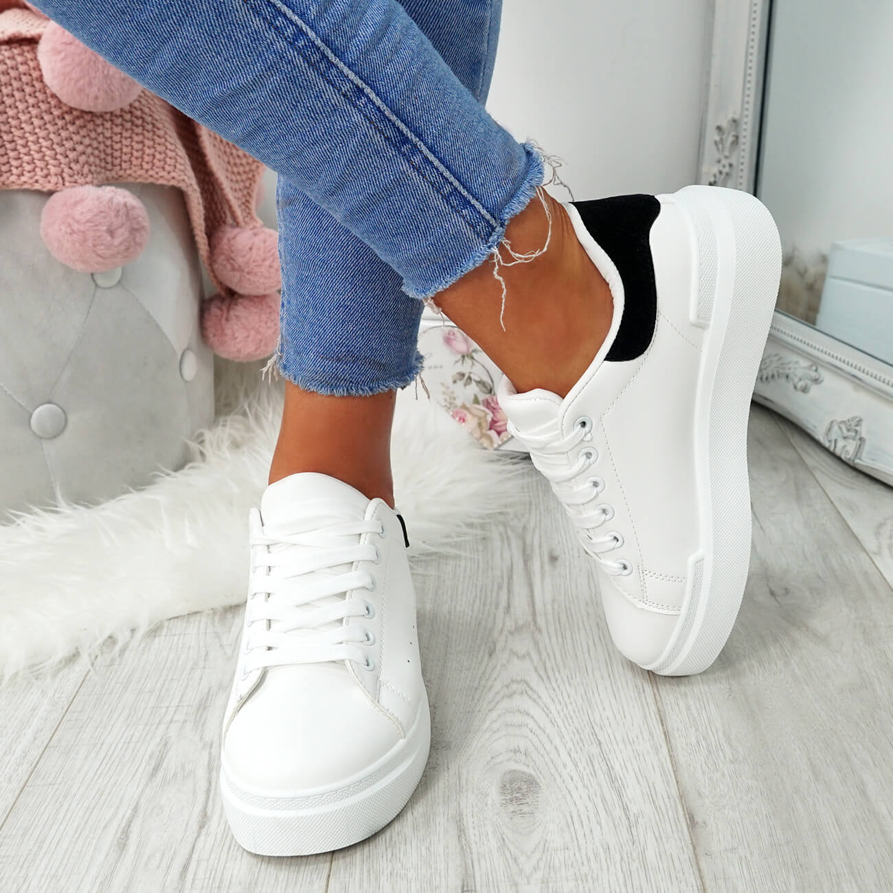 WOMENS-LADIES-LACE-UP-PLIMSOLL-SNEAKERS-CROC-SNAKE-TRAINERS-CASUAL-SHOES-SIZE thumbnail 35