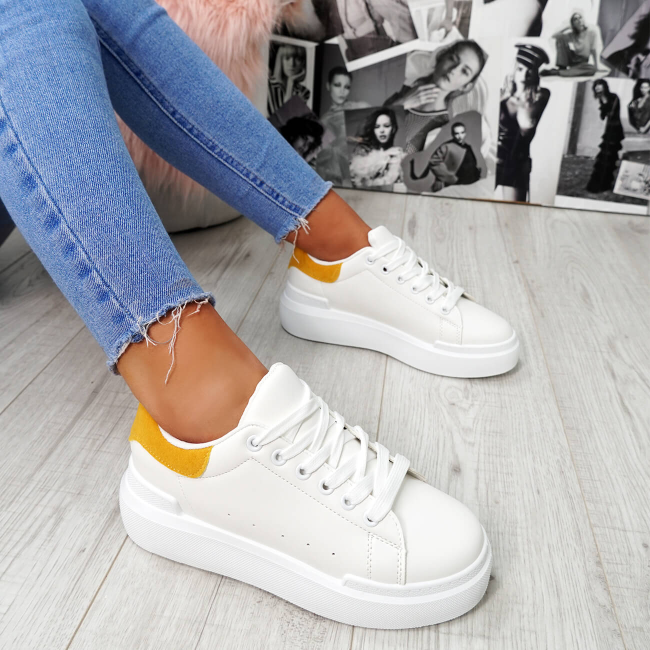 Ladies Low Ankle Sneaker Platform Flatform Womens Lace Trainers Shoes Yellow 3-8