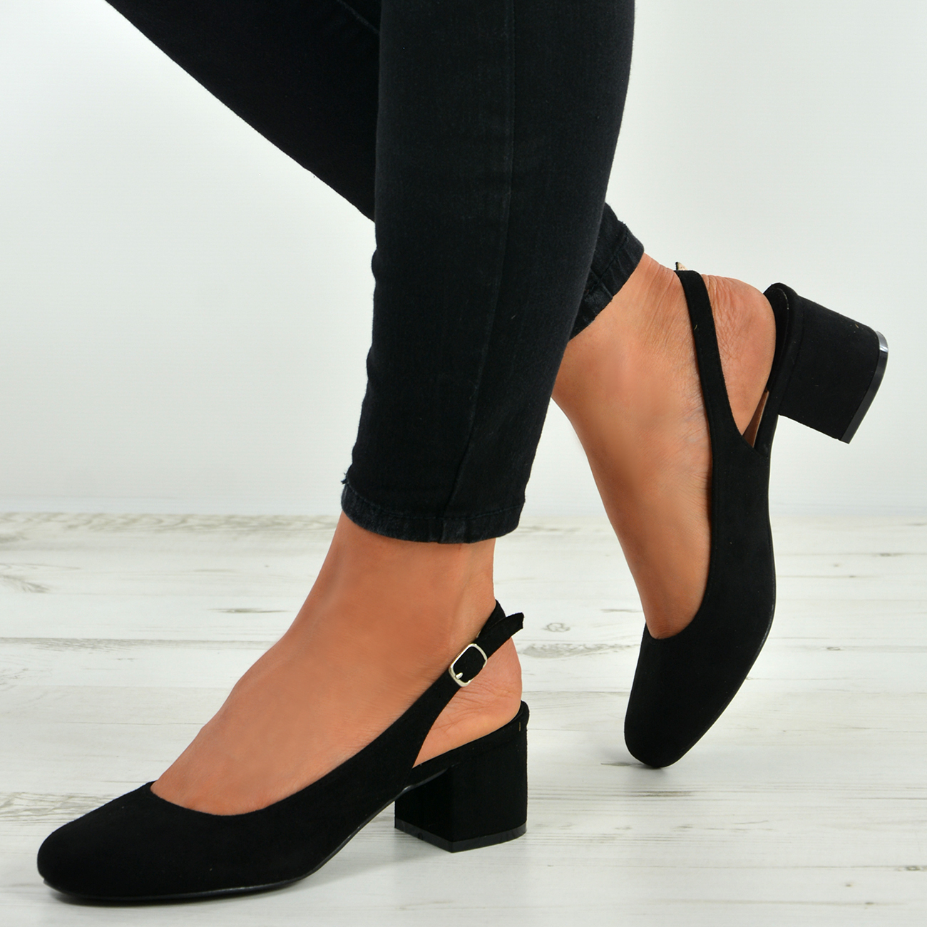 New-Womens-Low-Block-Heel-Pumps-Ladies-Sling-Back-Buckle-Shoes-Size-Uk-3-8