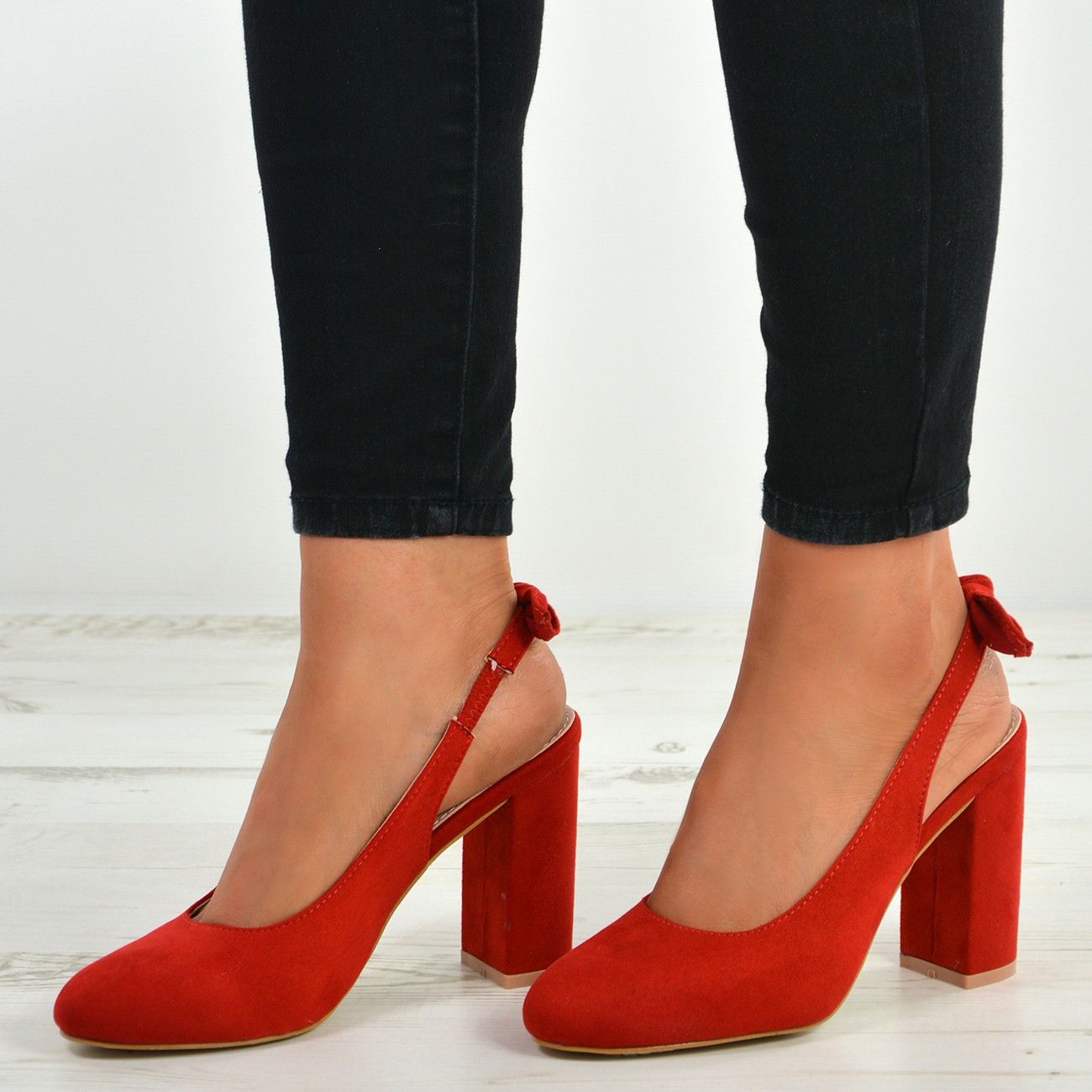 New-Womens-Ladies-Sling-Back-Pumps-High-Block-Heels-Comfy-Fashion-Shoes-Size-Uk