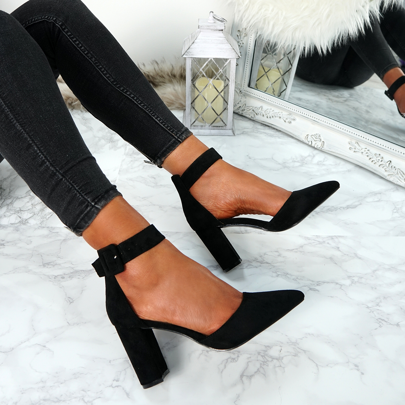 WOMENS-LADIES-HIGH-BLOCK-HEEL-ANKLE-STRAP-PUMPS-POINTED-TOE-PARTY-SHOES-SIZE
