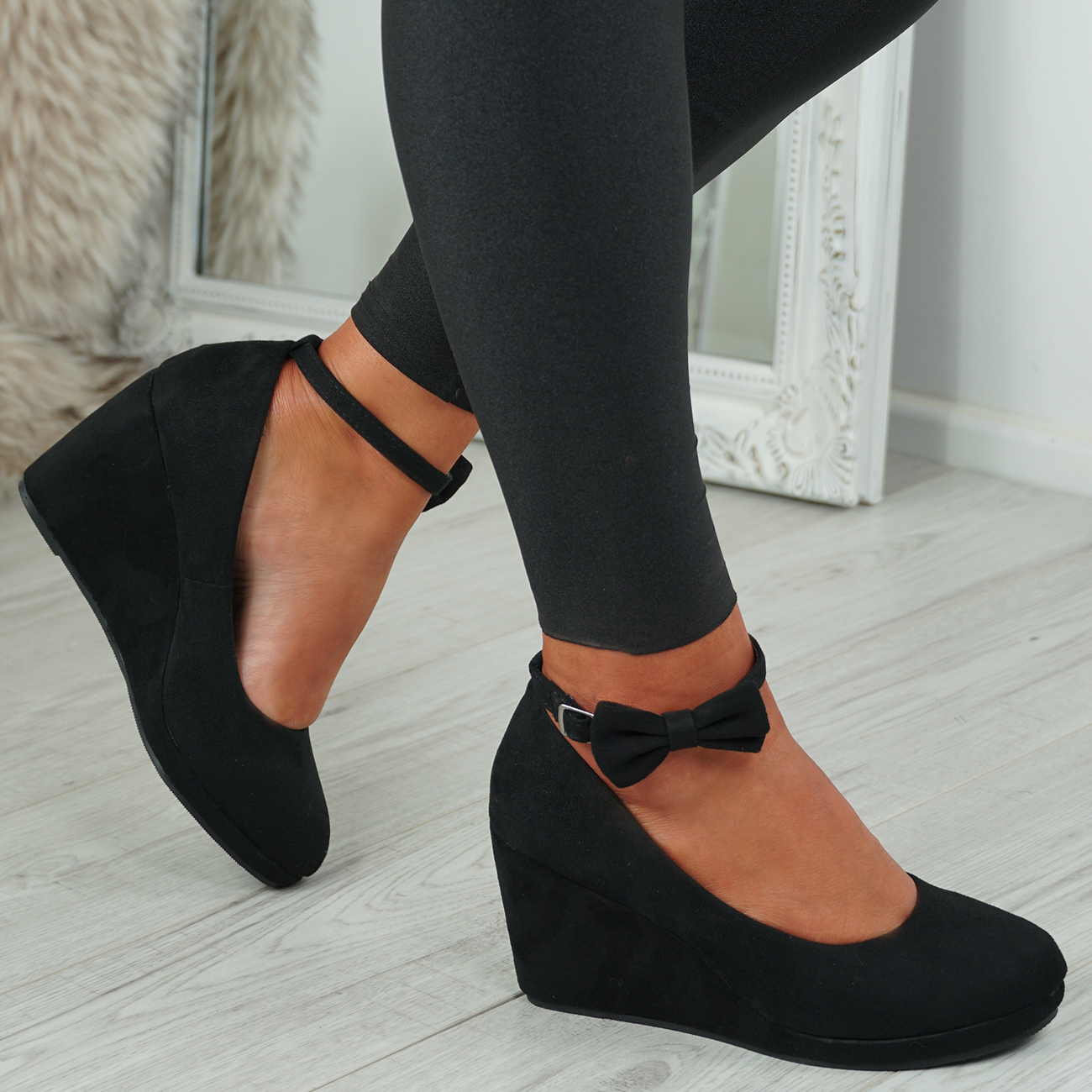 NEW-WOMENS-ANKLE-STRAP-WEDGES-LADIES-HIGH-HEEL-BOW-PUMPS-PLATFORM-SHOES thumbnail 7