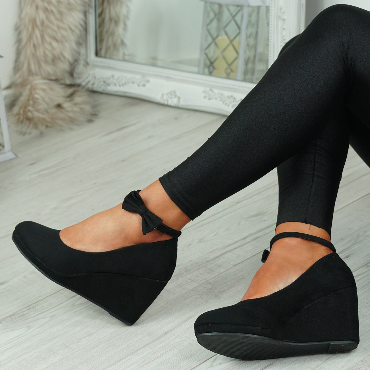 NEW-WOMENS-ANKLE-STRAP-WEDGES-LADIES-HIGH-HEEL-BOW-PUMPS-PLATFORM-SHOES thumbnail 8