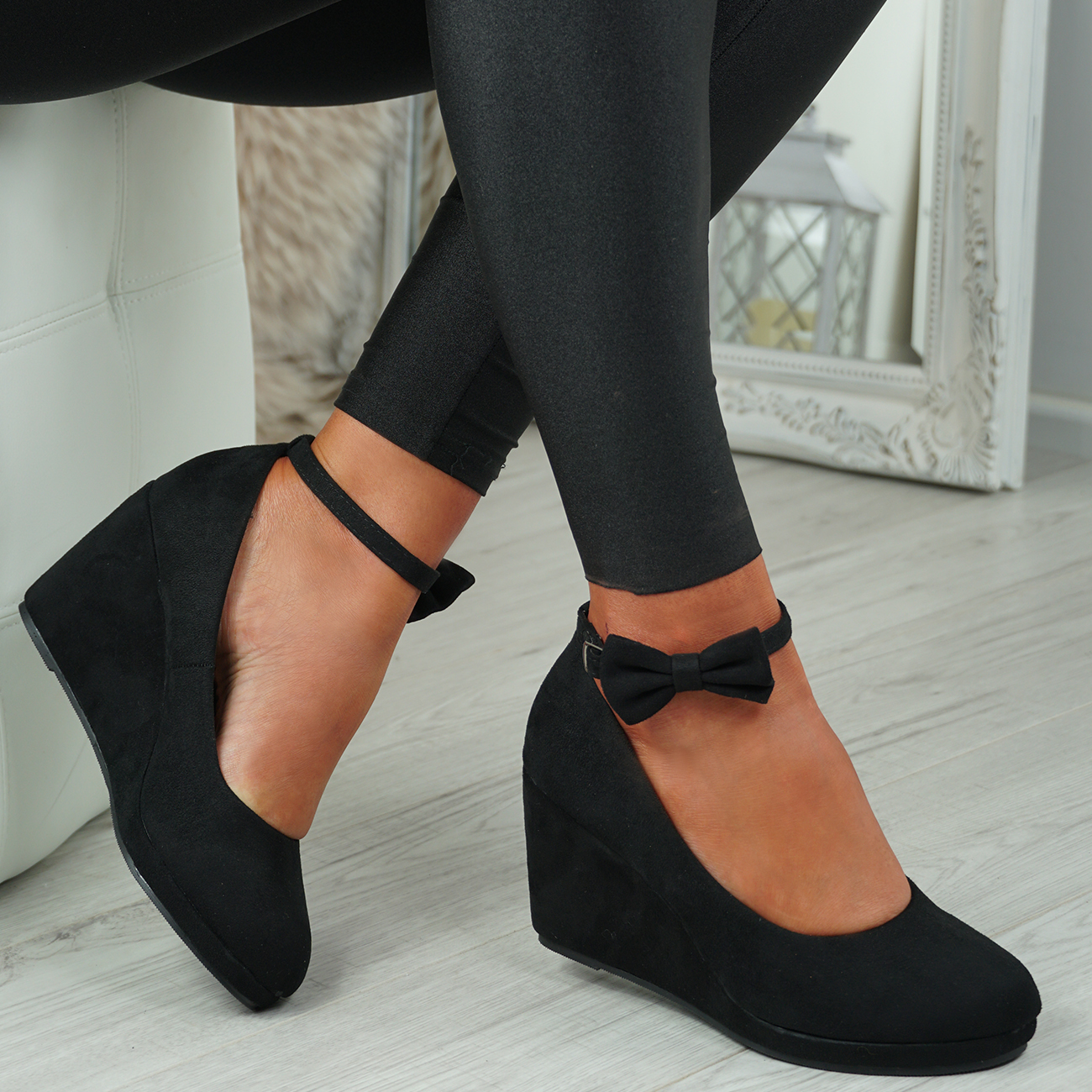 NEW-WOMENS-ANKLE-STRAP-WEDGES-LADIES-HIGH-HEEL-BOW-PUMPS-PLATFORM-SHOES thumbnail 9