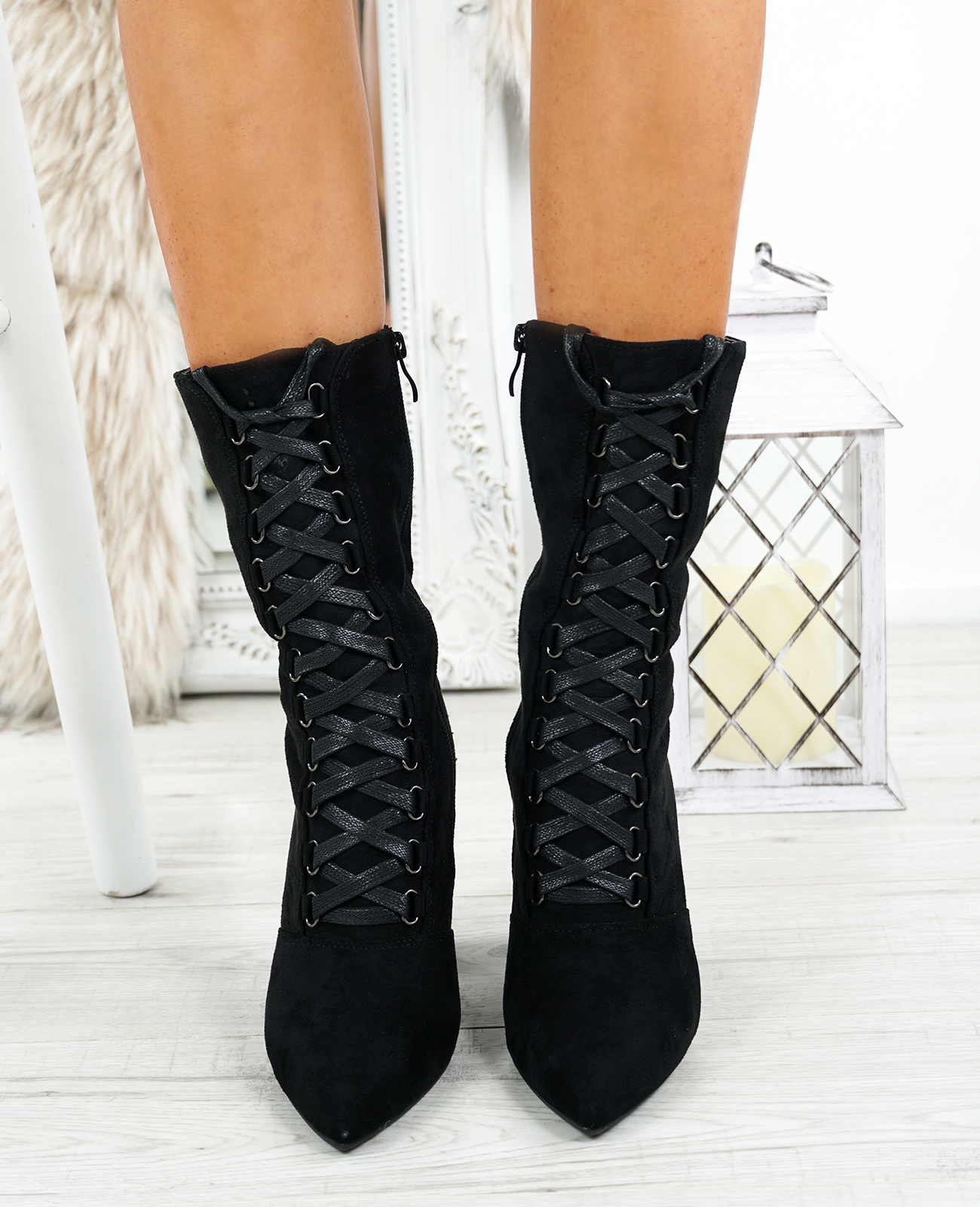 LADIES-WOMENS-HIGH-TOP-ANKLE-BOOTS-SIDE-ZIP-LACE-BLOCK-HEEL-POINTED-TOE-SHOES thumbnail 9