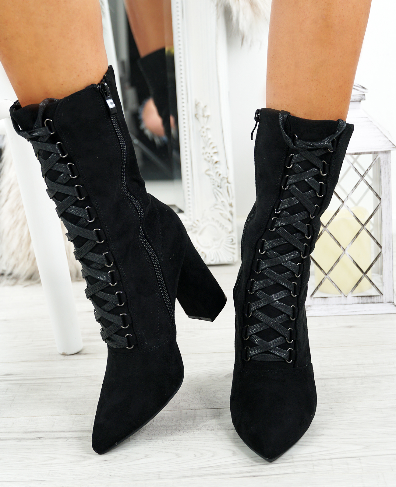 LADIES-WOMENS-HIGH-TOP-ANKLE-BOOTS-SIDE-ZIP-LACE-BLOCK-HEEL-POINTED-TOE-SHOES thumbnail 10