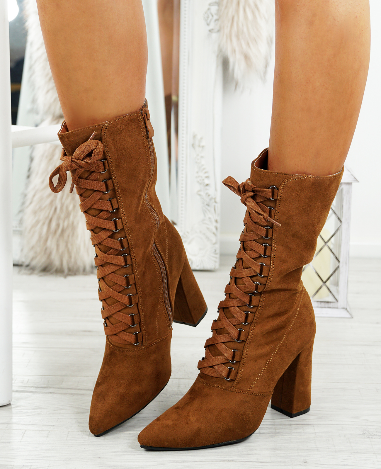 LADIES-WOMENS-HIGH-TOP-ANKLE-BOOTS-SIDE-ZIP-LACE-BLOCK-HEEL-POINTED-TOE-SHOES thumbnail 14