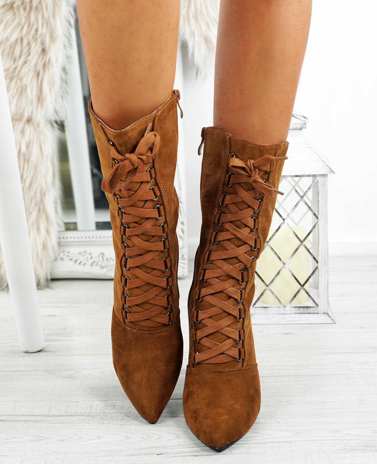 LADIES-WOMENS-HIGH-TOP-ANKLE-BOOTS-SIDE-ZIP-LACE-BLOCK-HEEL-POINTED-TOE-SHOES thumbnail 15