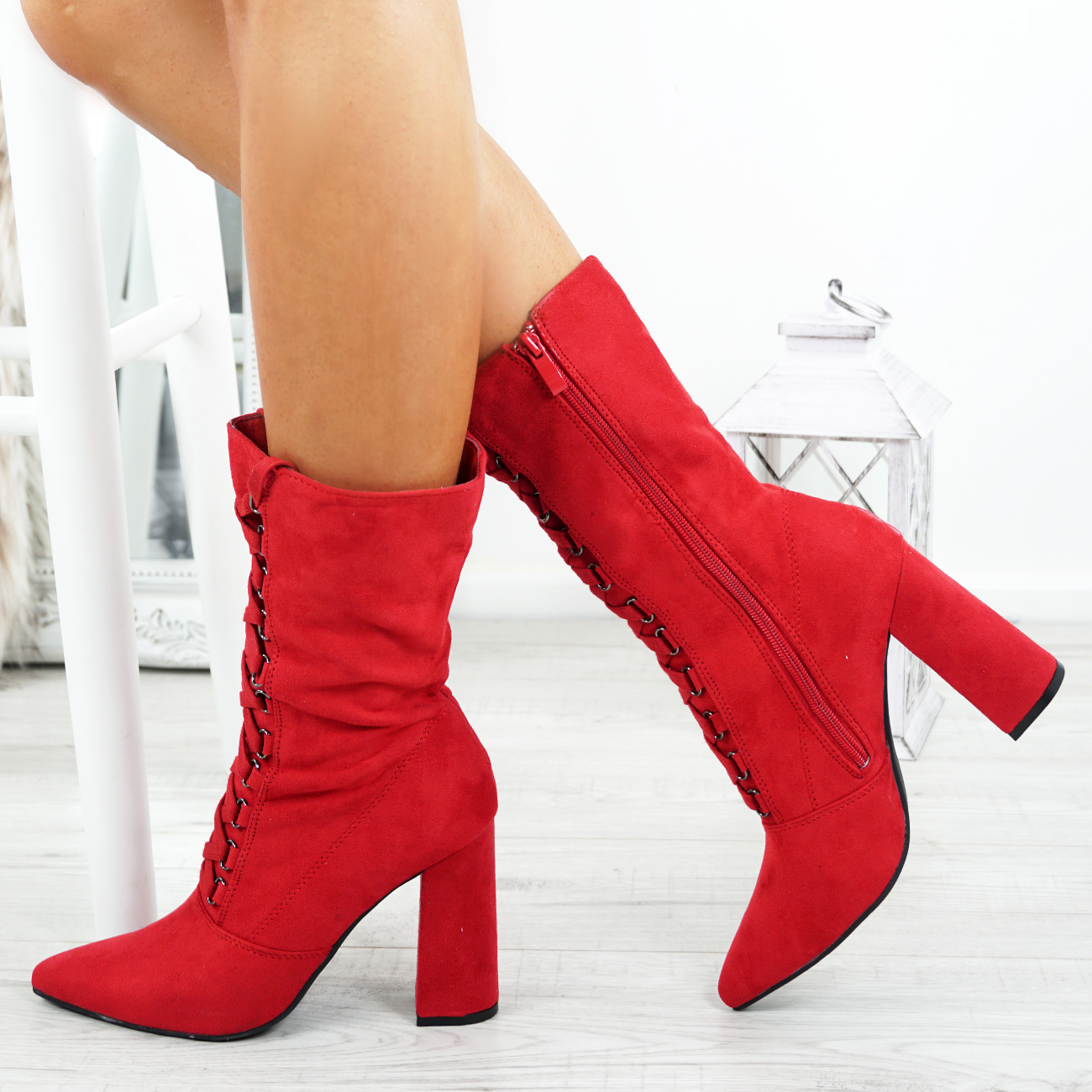 LADIES-WOMENS-HIGH-TOP-ANKLE-BOOTS-SIDE-ZIP-LACE-BLOCK-HEEL-POINTED-TOE-SHOES thumbnail 17