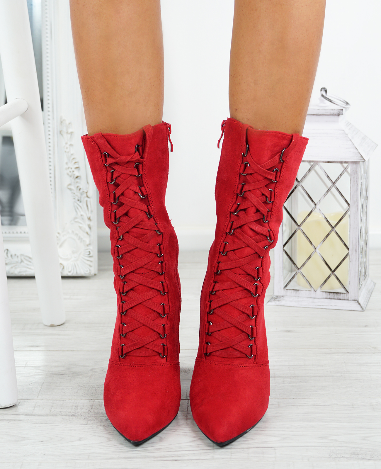 LADIES-WOMENS-HIGH-TOP-ANKLE-BOOTS-SIDE-ZIP-LACE-BLOCK-HEEL-POINTED-TOE-SHOES thumbnail 18