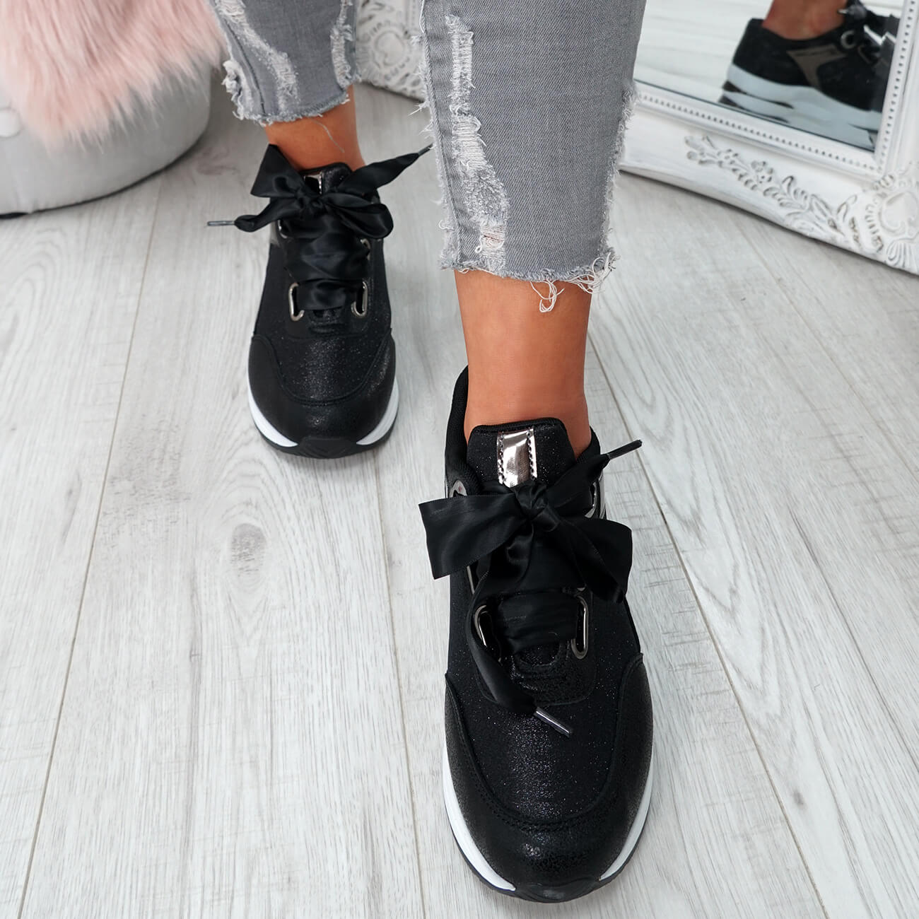 WOMENS-LADIES-RIBBON-TRAINERS-GLITTER-SPARKLE-SNEAKERS-RUNNING-FASHION-SHOES thumbnail 7
