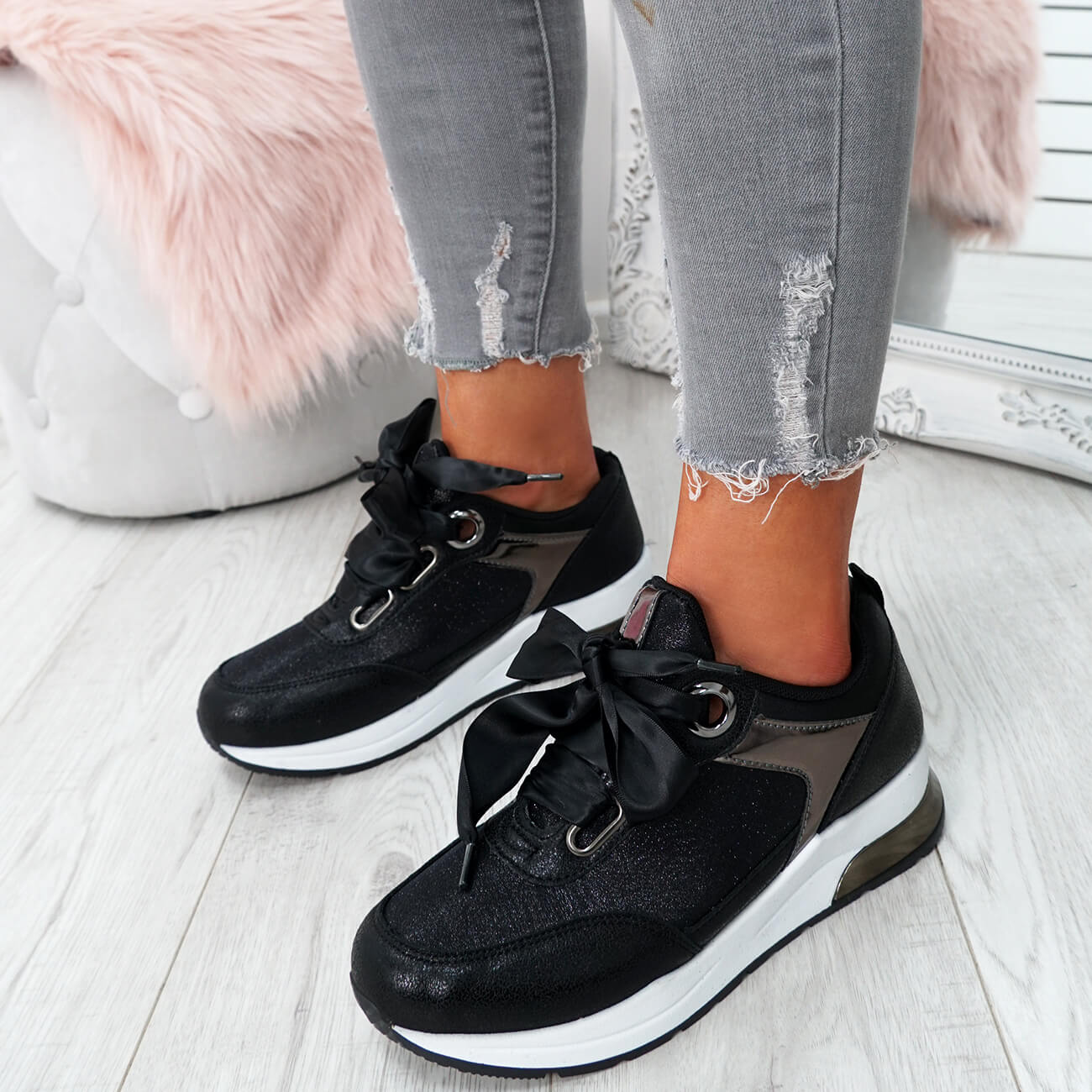 WOMENS-LADIES-RIBBON-TRAINERS-GLITTER-SPARKLE-SNEAKERS-RUNNING-FASHION-SHOES thumbnail 8