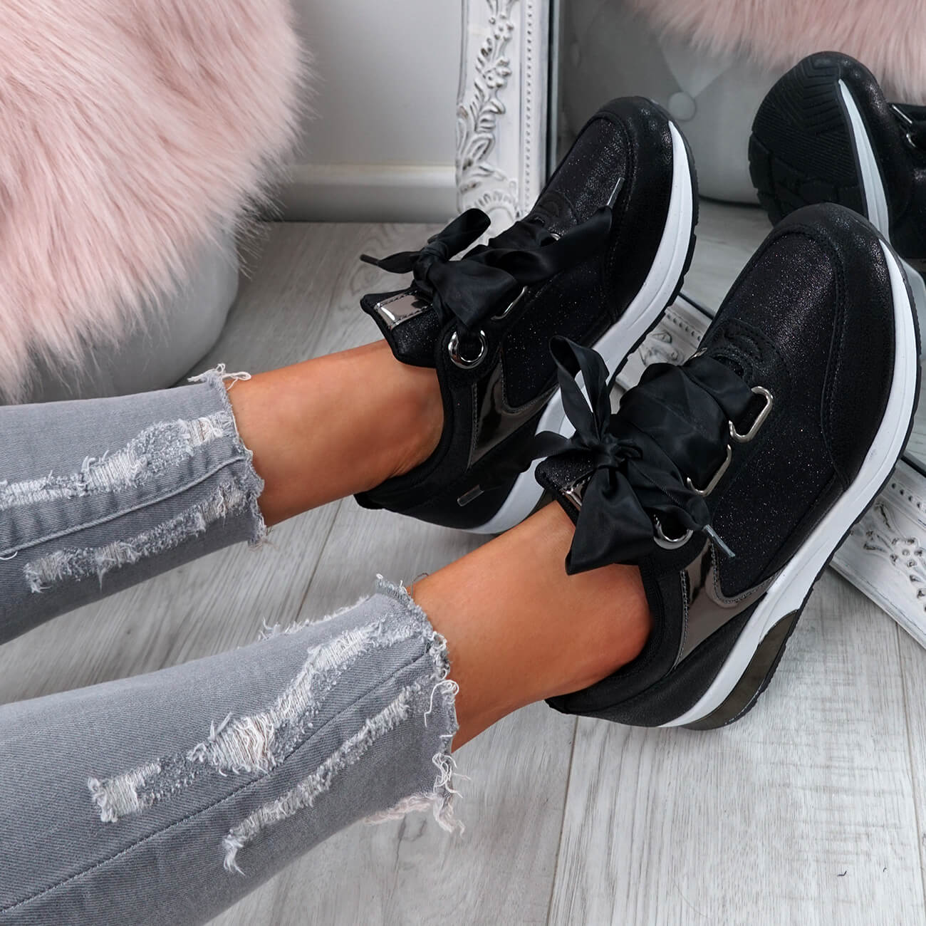 WOMENS-LADIES-RIBBON-TRAINERS-GLITTER-SPARKLE-SNEAKERS-RUNNING-FASHION-SHOES thumbnail 9