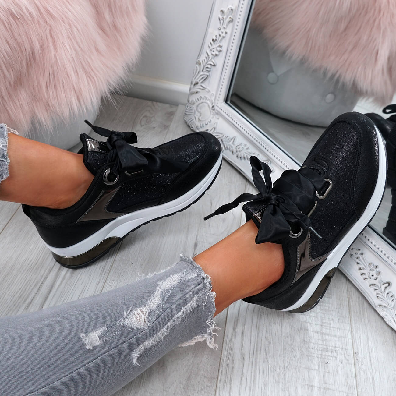 WOMENS-LADIES-RIBBON-TRAINERS-GLITTER-SPARKLE-SNEAKERS-RUNNING-FASHION-SHOES thumbnail 10