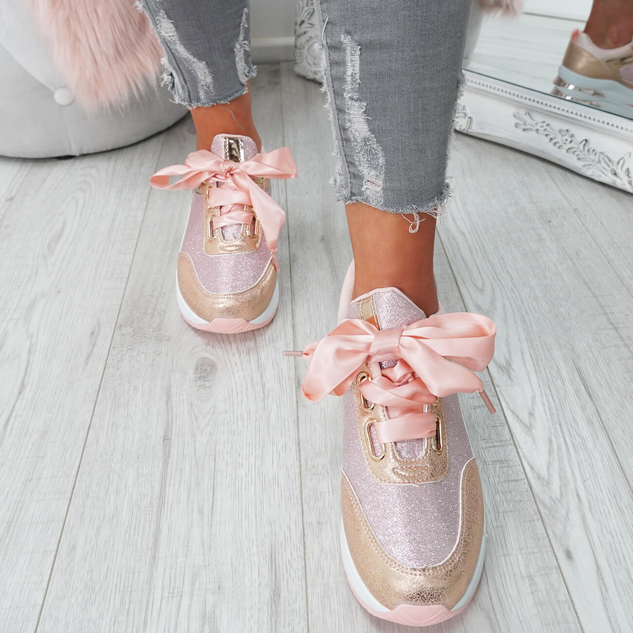 WOMENS-LADIES-RIBBON-TRAINERS-GLITTER-SPARKLE-SNEAKERS-RUNNING-FASHION-SHOES thumbnail 12