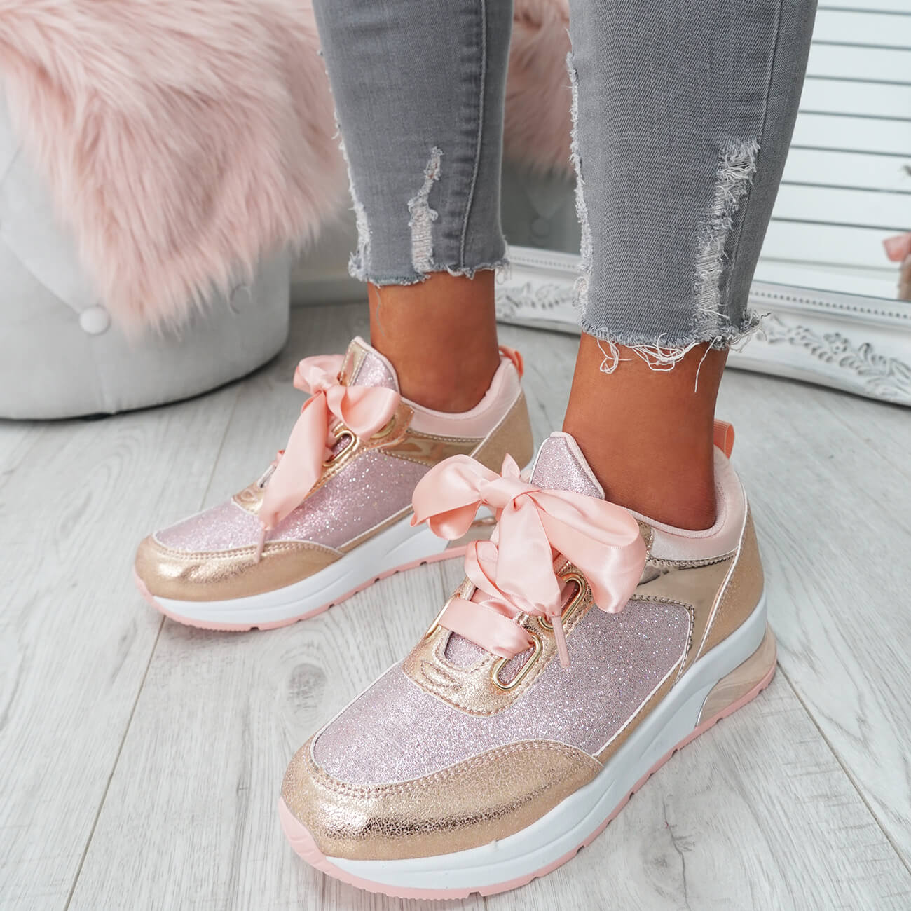 WOMENS-LADIES-RIBBON-TRAINERS-GLITTER-SPARKLE-SNEAKERS-RUNNING-FASHION-SHOES thumbnail 13