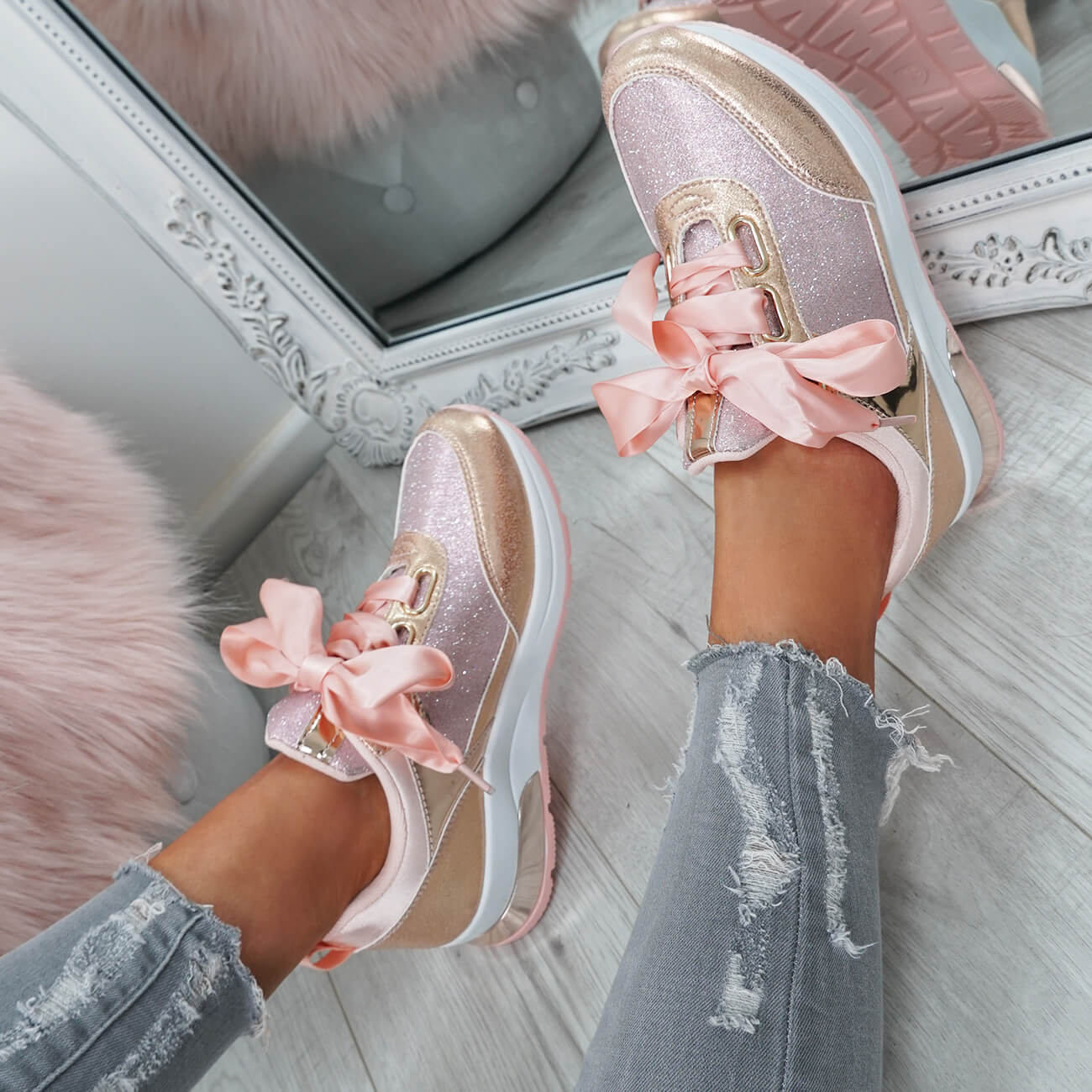 WOMENS-LADIES-RIBBON-TRAINERS-GLITTER-SPARKLE-SNEAKERS-RUNNING-FASHION-SHOES thumbnail 14