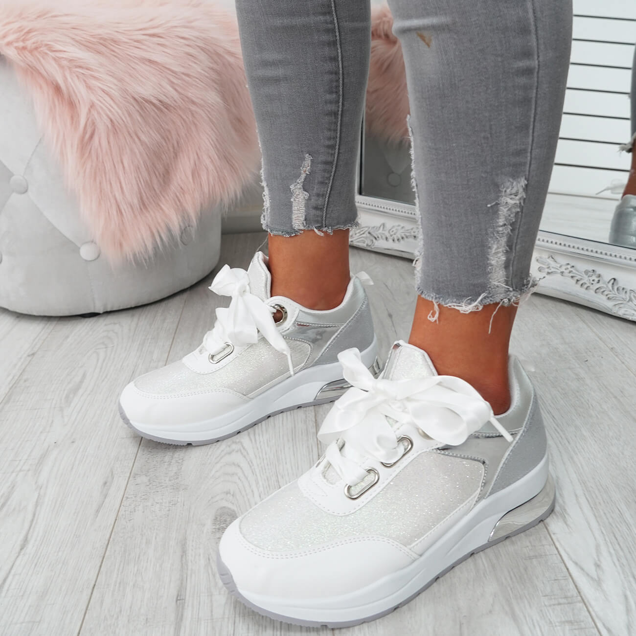 WOMENS-LADIES-RIBBON-TRAINERS-GLITTER-SPARKLE-SNEAKERS-RUNNING-FASHION-SHOES thumbnail 17
