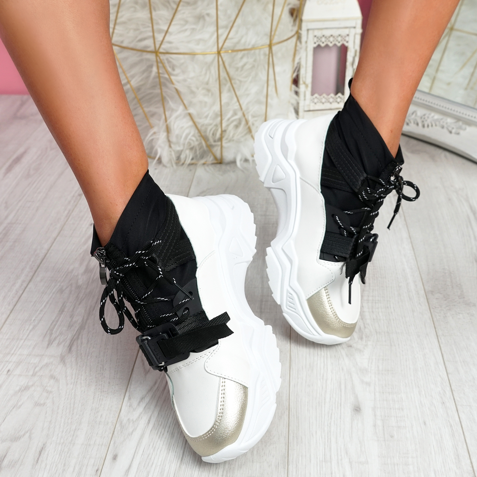WOMENS LADIES CHUNKY SOLE TRAINERS SOCK SNEAKERS PLATFORM ZIP WOMEN SHOES SIZE