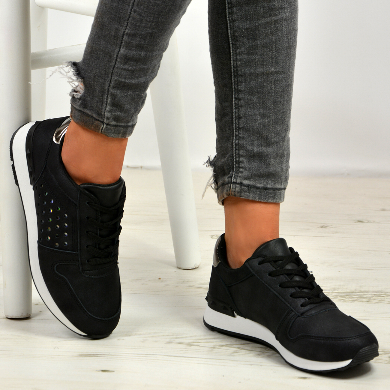New-Womens-Lace-Up-Trainers-Ladies-Sneakers-Plimsoll-Running-Shoes-Size-Uk-3-8