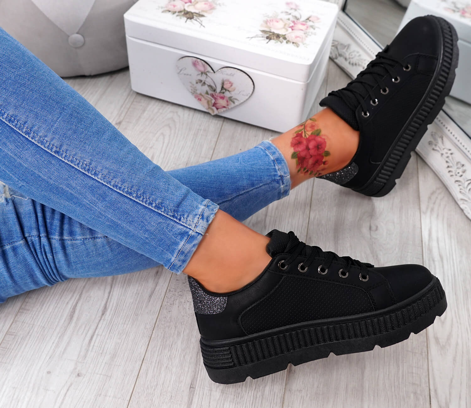 WOMENS-LADIES-PLATFORM-TRAINERS-LACE-UP-GLITTER-SNEAKERS-SHOES-SIZE-UK thumbnail 8
