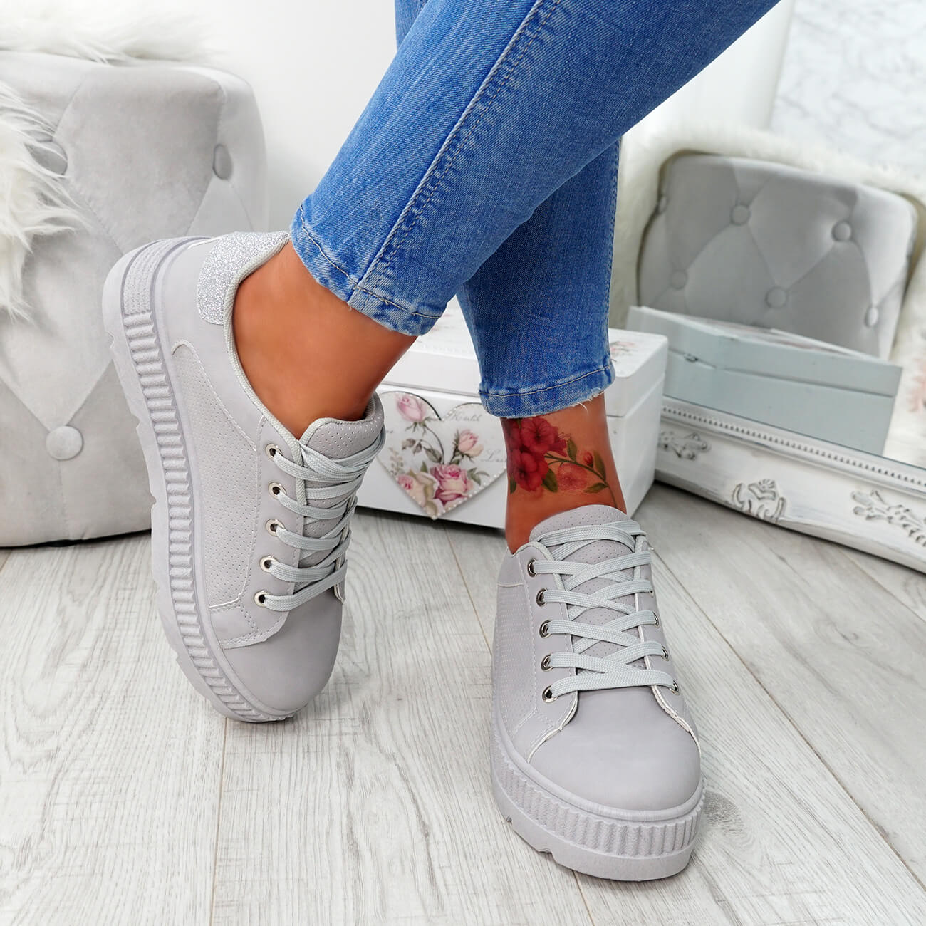WOMENS-LADIES-PLATFORM-TRAINERS-LACE-UP-GLITTER-SNEAKERS-SHOES-SIZE-UK thumbnail 12
