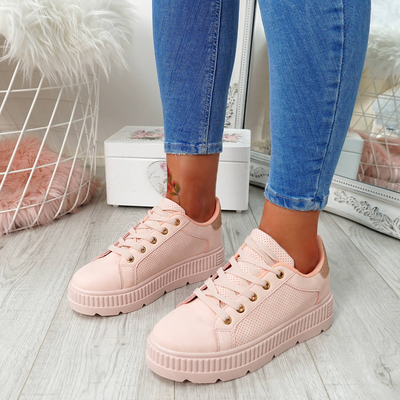 WOMENS-LADIES-PLATFORM-TRAINERS-LACE-UP-GLITTER-SNEAKERS-SHOES-SIZE-UK thumbnail 20