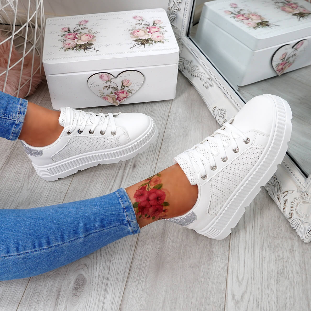 WOMENS-LADIES-PLATFORM-TRAINERS-LACE-UP-GLITTER-SNEAKERS-SHOES-SIZE-UK thumbnail 24