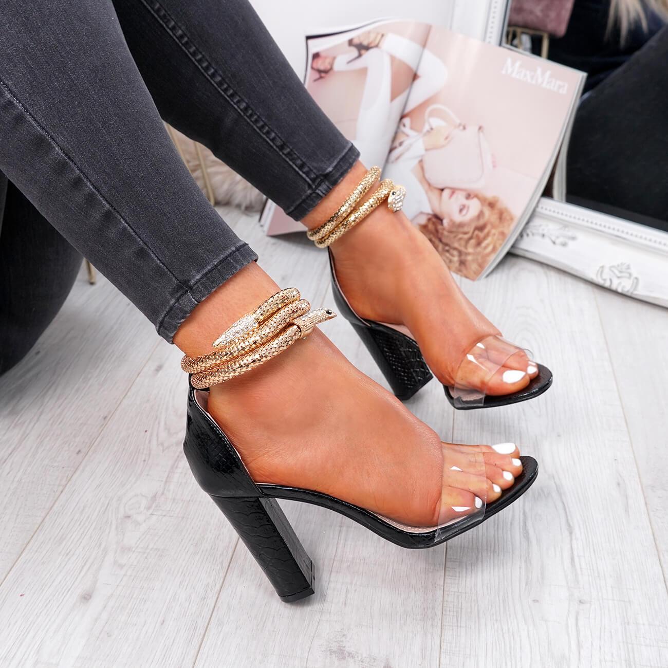 New Women Summer Party Casual Shiny Peep Toe Block Heel Sandal UK Sizes 3-8