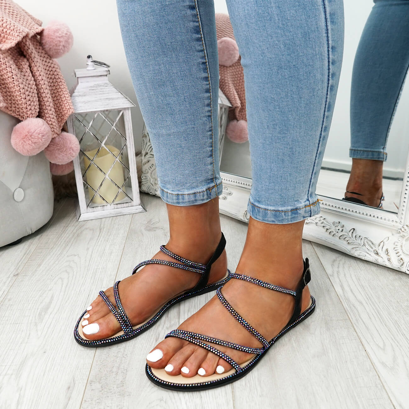 WOMENS-LADIES-STUDDED-ANKLE-STRAP-FLAT-SHOES-PARTY-CLUB-SANDALS-SHOES-SIZE-UK thumbnail 9