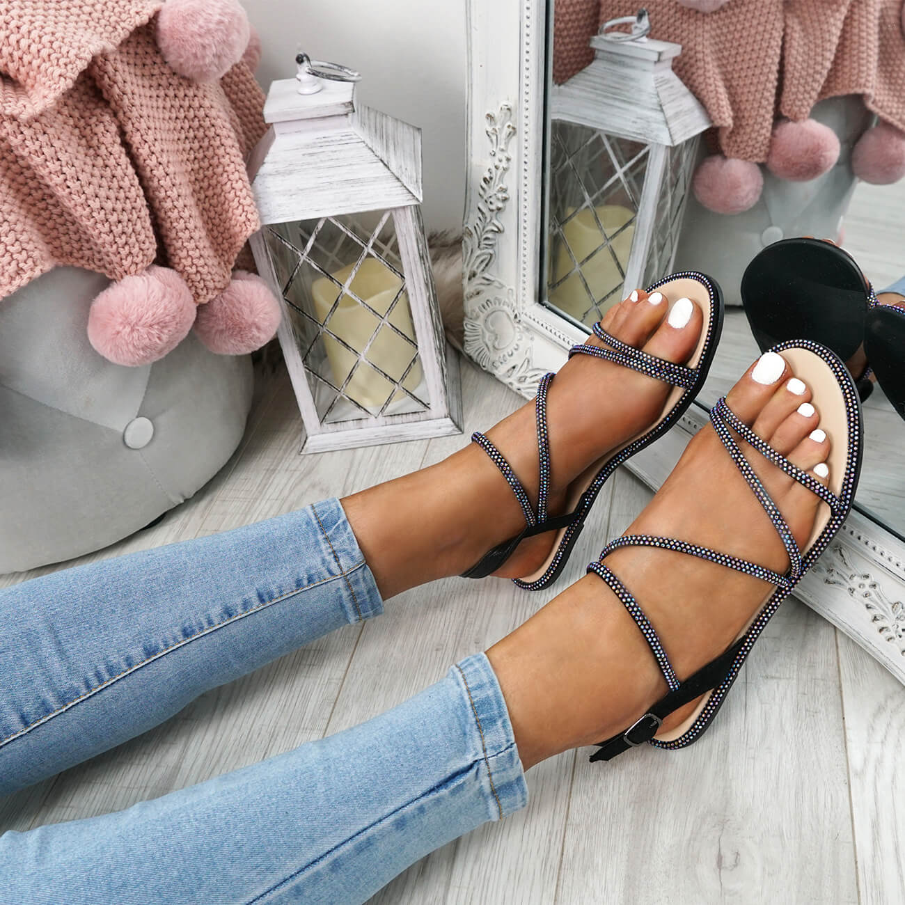 WOMENS-LADIES-STUDDED-ANKLE-STRAP-FLAT-SHOES-PARTY-CLUB-SANDALS-SHOES-SIZE-UK thumbnail 10