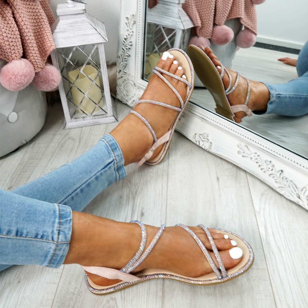 WOMENS-LADIES-STUDDED-ANKLE-STRAP-FLAT-SHOES-PARTY-CLUB-SANDALS-SHOES-SIZE-UK thumbnail 16