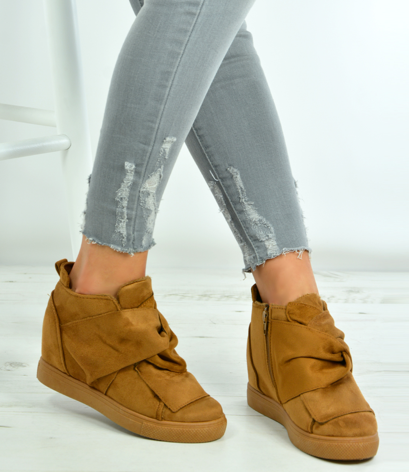 New-Womens-Ladies-Ankle-Wrap-Wedge-Trainers-Suede-Sneakers-Shoes-Size-Uk-3-8